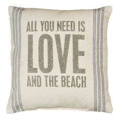 """Transform your home into a beach-chic retreat with this plush pillow, perfect for your sofa, bed, or favorite arm chair.    Product: PillowConstruction Material: LinenColor: Ivory and blueFeatures:  Rustic charmInsert included Dimensions: 15"""" x 15""""Cleaning and Care: Spot clean"""