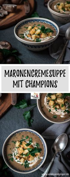 Champion Maronen Cremesuppe Apple and Ginger Food N, Food And Drink, Ayurveda, Romantic Dinners, Vegan Dinners, Easy Healthy Recipes, Soup Recipes, Curry, Healthy Eating