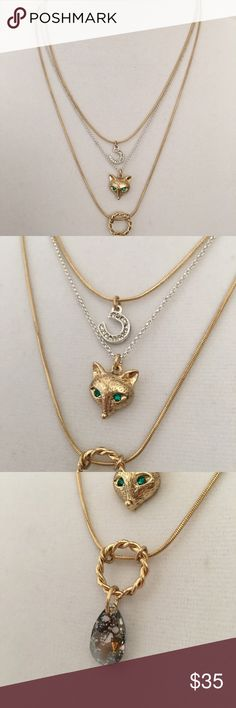 Betsey Johnson 'Fox Trot' Necklace. *nwt* Petite illusion necklace from Betsey Johnson's Fox Trot Collection. Gold and silver tone metals, pave' crystals in clear and green, and intriguing teardrop pendant. Fox head and horseshoe charms. New with tags. Betsey Johnson Jewelry Necklaces