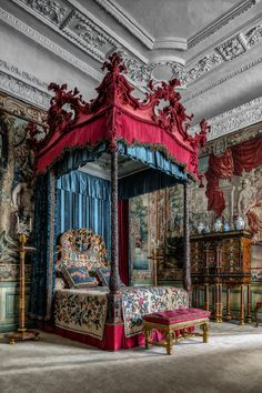 The Blue Silk Bedroom at Burghley House in Lincolnshire, England