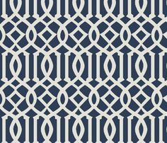 Imperial Trellis-Navy-Large fabric by melberry for sale on Spoonflower - custom fabric, wallpaper and wall decals
