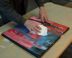 adhering painted papers/watercolor paper to a board or canvas -- tut by Robert Burridge