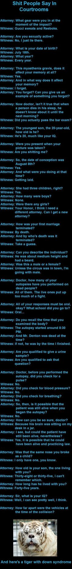 These are ridiculous but they male me wonder what the cases were that these questions were asked...