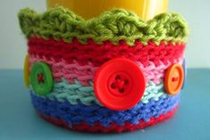Crochet covered tuna tin as plant saucer