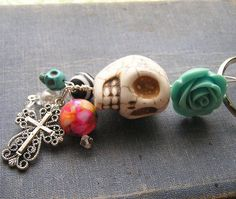 Day of the Dead Frida Inspired Keychain Key ring by shabbyskull