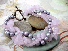 Braided Rose Quartz and Purple Pearl Bracelet antique copper clasp | FadedLeaves - Jewelry on ArtFire