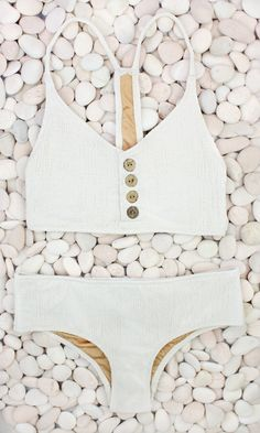 White summer bikini with buttons #swimsuit