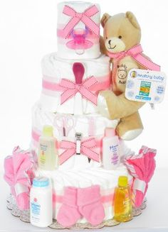 Girl Teddy Bear Diaper Cake Baby Kids, Baby Boy, Teddy Bear Baby Shower, Baby Shower Centerpieces, Diy Projects To Try, Creative Gifts, Holidays And Events, Homemade Gifts, Baby Shower Gifts