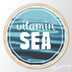 """Modern Embroidery hoop Quote art cross stitch pattern """"Vitamin SEA"""" Instant Download Printable JPEG PDF"""