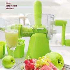 Green Plastic Hand Juicer Reamer Squeezer Manual Ice Cream Maker Detachable Juice Machine Home Kitchen Vegetables Fruits Tools