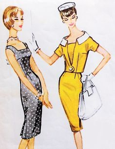 1950s SEDUCTIVE Slim Sheath Dress and Shortie Jacket Pattern McCalls 5005 Sq Neckline Sheath Day or Cocktail Party Bust 34 Vintage Sewing Pattern