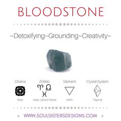 Metaphysical Healing Properties of Bloodstone, including associated Chakra, Zodiac and Element, along with Crystal System/Lattice to assist you in setting up a Crystal Grid. Go to https:/soulsistersdesigns.com to learn more!