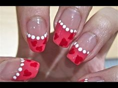 Easy Cute Valentine Nails  This could be done any color without hearts.