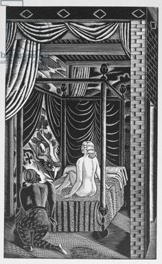 """The Bed Chamber"" by Eric Ravilious from 'The Famous Tragedy of the Rich Jew of Malta', written by Christopher Marlowe (1564-93), published in 1932 (woodcut)"