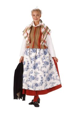 Traditional Finnish folk costume, a woman´s dress representing the region of Sysmä and Luhanka. Folk Costume, Costumes, Folk Clothing, Costume Patterns, Traditional Dresses, Floral Prints, How To Wear, Europe, Clothes