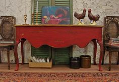 Rustic French Country Red Console 1/12th Scale Dollhouse Miniature Furniture