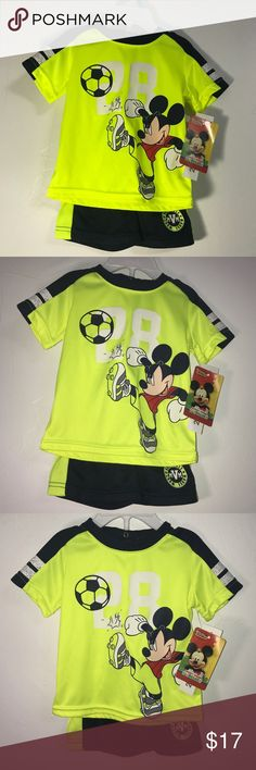 New! Neon Yellow Disney Mickey Mouse 2 Piece Set New! Neon Yellow Disney Mickey Mouse  2 Piece Set! Size 3-6 months, See last pic for exact details of Sizing! Disney Matching Sets