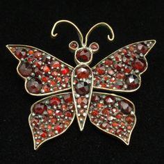 Butterfly Pin Victorian Bohemian Garnets