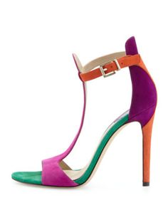 B Brian Atwood Leigha Suede T-Strap Sandal, Red/Green