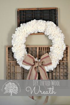 Anthropologie Inspired Tufted Wool Wreath #DIY