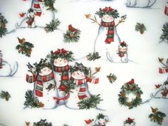 Susan Winget, Snowman Fabric, Christmas Fabric, By The Yard, Quilting Sewing Fabric, Cardinal Friends Scenic Collection, Winter Fabric by NeedlesnPinsStichery on Etsy