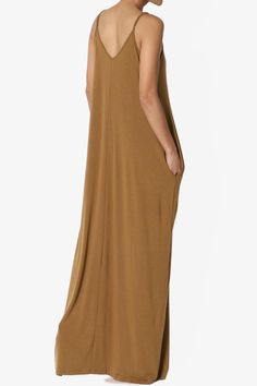 a9b358a66ec TheMogan Women's V-Neck Draped Jersey Casual Beach Cami Long Maxi Dress W  Pocket#