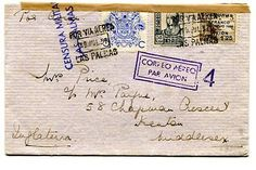 Spain, Civil War, air mail cover from Canary Islands to England with censor, 193