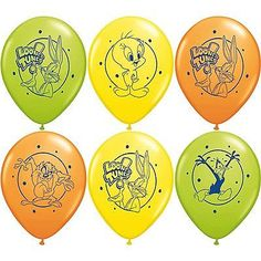 "6 pc 12"" Looney Tunes Pirates Party Latex Balloons Happy Birthday Bugs Bunny Taz"