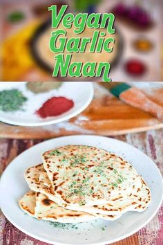 This no-yeast, vegan naan is loaded with fresh garlic and made in less than 30 minutes on your stove top. Light and fluffy, super simple and great tasting, this non-dairy, no-yeast naan bread is the best of all Indian bread. #vegannaan  #noyeastnaan #noyeastvegannaan #nondairynaan #vegannaan #vegannaanbreadeasy #easy #noyeast #nondairy #dairyfree #indianbread Vegan Lunch Recipes, Best Vegan Recipes, Vegan Snacks, Vegan Dinners, Vegan Desserts, Indian Food Recipes, Best Vegan Breakfast, Vegan Breakfast Recipes, Vegan Naan
