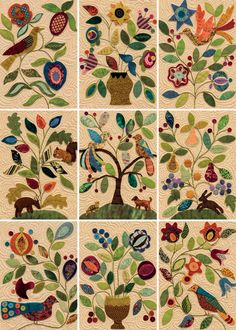 Wool-applique quilt blocks from My Enchanted Garden