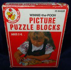 Vintage Winnie The Pooh Picture Puzzle Blocks Sears Solid Wood