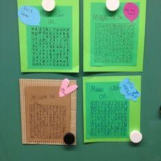 """Tässä yksi aika helppo vinkki. Valmistella pitää vain tyhjät ruudukot (ellei anna oppilaiden tehdä itse), jotka monistin väripapereille ja leikata korttipohjat. Oppilaat täyttivät ruudukot itse isää kuvaavilla sanoilla ja täytekirjaimilla. Tuli samalla isälle """"lahjakin"""" kun saa etsiä kortista mukavia sanoja. Taakse oppilaat voivat tehdä onnittelurunon näitä """"ristikon"""" sanoja käyttämällä. Kuva ja vinkki: Emilia Vihavainen"""
