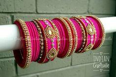 Silk Thread Jewelry A set of 26 Handmade Silk Thread Bangles Silk Thread Earrings Designs, Thread Bangles Design, Silk Thread Bangles, Thread Jewellery, Indian Accessories, Bangles Making, Bangle Set, Pink Silk, Designer Earrings