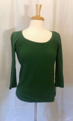 TALBOTS Womens Size XS Green Shirt 3/4 Sleeve Bust 35 , EUC!  #S19 #Talbots #Blouse #Casual