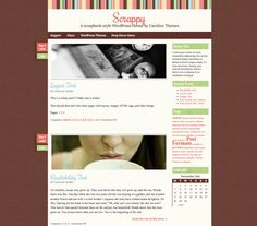 Scrappy is a fun, scrapbook-style theme with lots of texture and charm. It supports post thumbnails, custom backgrounds, a custom drop-down menu, one right-hand sidebar and three widget columns in the footer. Photography Website Templates, Some Text, Wordpress Theme, Layout, Scrapbook, Good Things, Website Designs, Fun, Columns