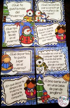 Spanish Winter Writing Prompts and Task Cards  30 different winter-themed…
