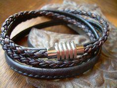 Double Wrap Mens Leather Bracelet with by UrbanSurvivalGearUSA