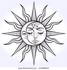Bohemian Hand Drawn Sun Moon Vector Stock Vector (Royalty Free) 527868040 - Bohemian hand drawn sun and moon. Vector illustration for coloring book, t-shirts design, tattoo.
