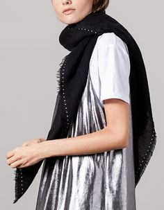 Studded fine neck scarf