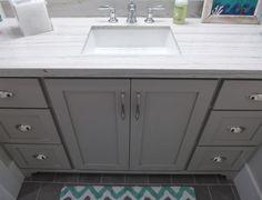 Guest bath with a Macabus granite countertop Custom Countertops, Granite Countertops, Kitchen And Bath Remodeling, Bathroom Vanities, Bathroom Ideas, Bathrooms, Guest Bath, Built Ins, Kitchen Design