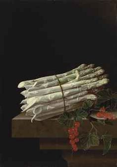 ADRIAEN COORTE (?MIDDELBURG ?1660-AFTER 1707) ASPARAGUS AND RED CURRANTS ON A STONE LEDGE