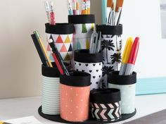 Organizing Hacks: 3 Recycled DIY Organizers with Mod Podge, including how to cra., DIY and Crafts, Organizing Hacks: 3 Recycled DIY Organizers with Mod Podge, including how to craft this makeup organizer (or office organizer/craft supplies holder! Organisation Hacks, Organizing Hacks, Desk Organization Diy, Diy Desk, Office Storage, Desk Office, Pot Mason Diy, Mason Jar Crafts, Mason Jars
