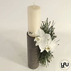 Lumanare botez scurta orhidee si pin - LB102 – YaU concept Pillar Candles, Christening, Concept, Contemporary, Art, Bebe, Art Background, Kunst, Performing Arts