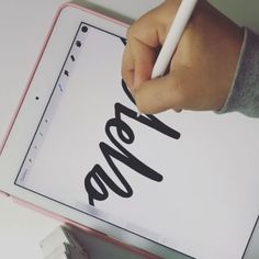 This is how I practice. I go over and over and over my own handwriting to try and make it perfect. And this is why I LOVE my iPad. All the brushes I used are default Procreate Brushes. Hand Lettering Alphabet, Brush Lettering, Ipad Pro Apps, Learn Calligraphy, Modern Calligraphy, Hand Lettering For Beginners, Affinity Designer, Creative Lettering, Ipad Art