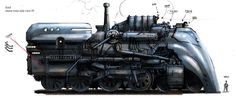 STEAMPUNK  Emil Landgreen's Steampunk Loco, drawn for a game that never came off.  From HERE