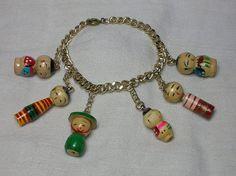 Vintage Bracelet Japanese Kokeshi Dolls c1950s/60s
