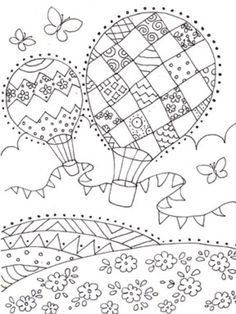 Liz Yee – Bw heißer Ballon – ✐ Hot Air Balloons Colouring Pages - Malvorlagen Mandala Cute Coloring Pages, Free Printable Coloring Pages, Adult Coloring Pages, Coloring Pages For Kids, Coloring Books, Doodle Drawings, Doodle Art, Art Classroom, Embroidery Patterns