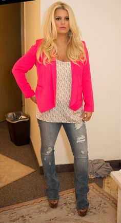 Jessica Simpson wearing Jessica Simpson Dany Platform in Light Tan Leather Jessica Simpson Dalton Tuxedo blazer in Diva Pink Anita Ko Rose Gold Hoop Earrings Jessica Simpson Bracelets Rope Trim Tank in Peach Nectar Jessica Simpson Ripped Rockin Curvy Bootcut Jean