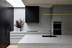 Timber Battens, Timber Flooring, Stone Benchtop, Interior Architecture, Interior Design, Open Plan Kitchen, Long Kitchen, Kitchen Living, Brickwork