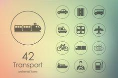 42 transport icons by Palau on Creative Market